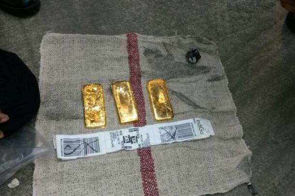 Gold Bar in Aircraft toilet