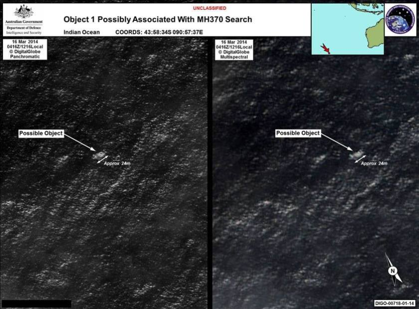 Satelite Image of what could be from MH370 that has been missing since 8th March 2014