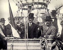 "wikipedia image - Possible photo of Matias Perez (center) and French pilot Eugene Goddard (right) aboard the balloon ""Ville de Paris"""