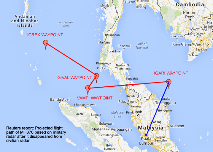 MH370 military radar