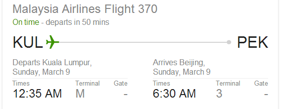 MH370 schedule