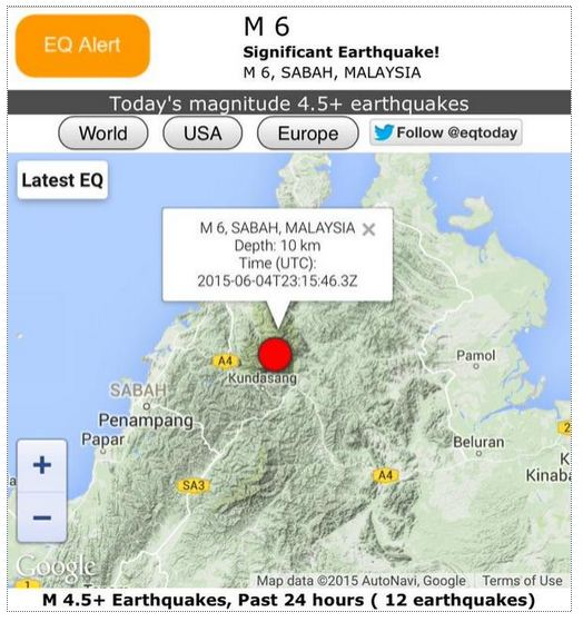 Sabah earthquake epicentre