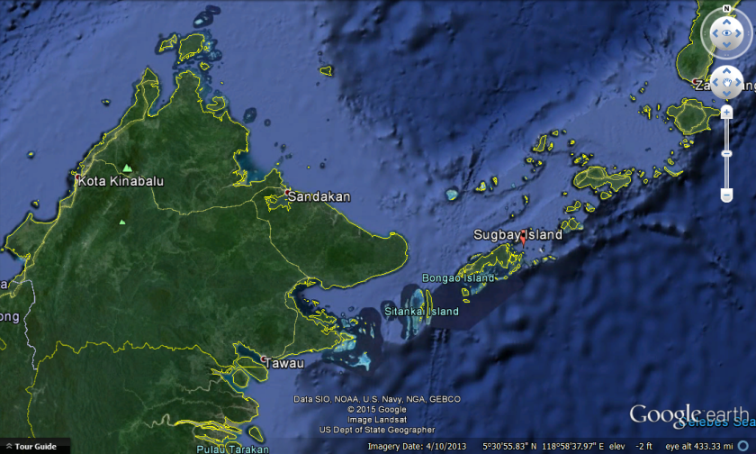 Map of Sugbay Island south of Philippines and East of Sabah